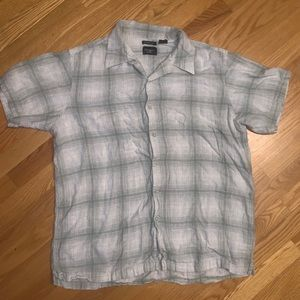 XL Men's Sage Green and White Button-up
